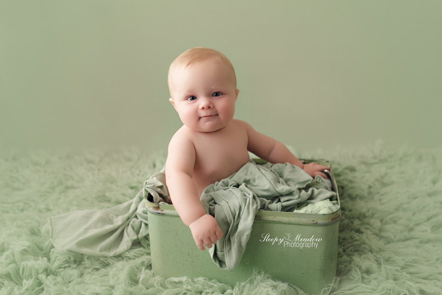 6 month baby photo shoot with Sleepy Meadow Photography of Waukesha